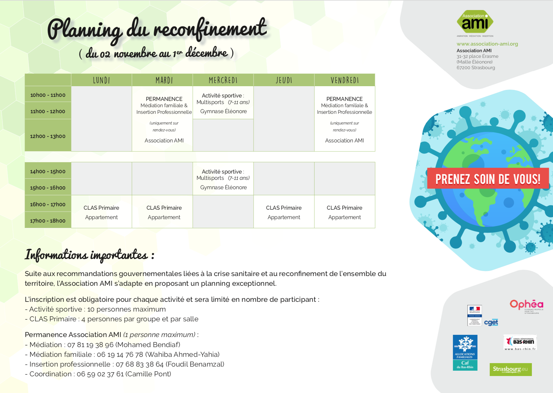Planning du reconfinement