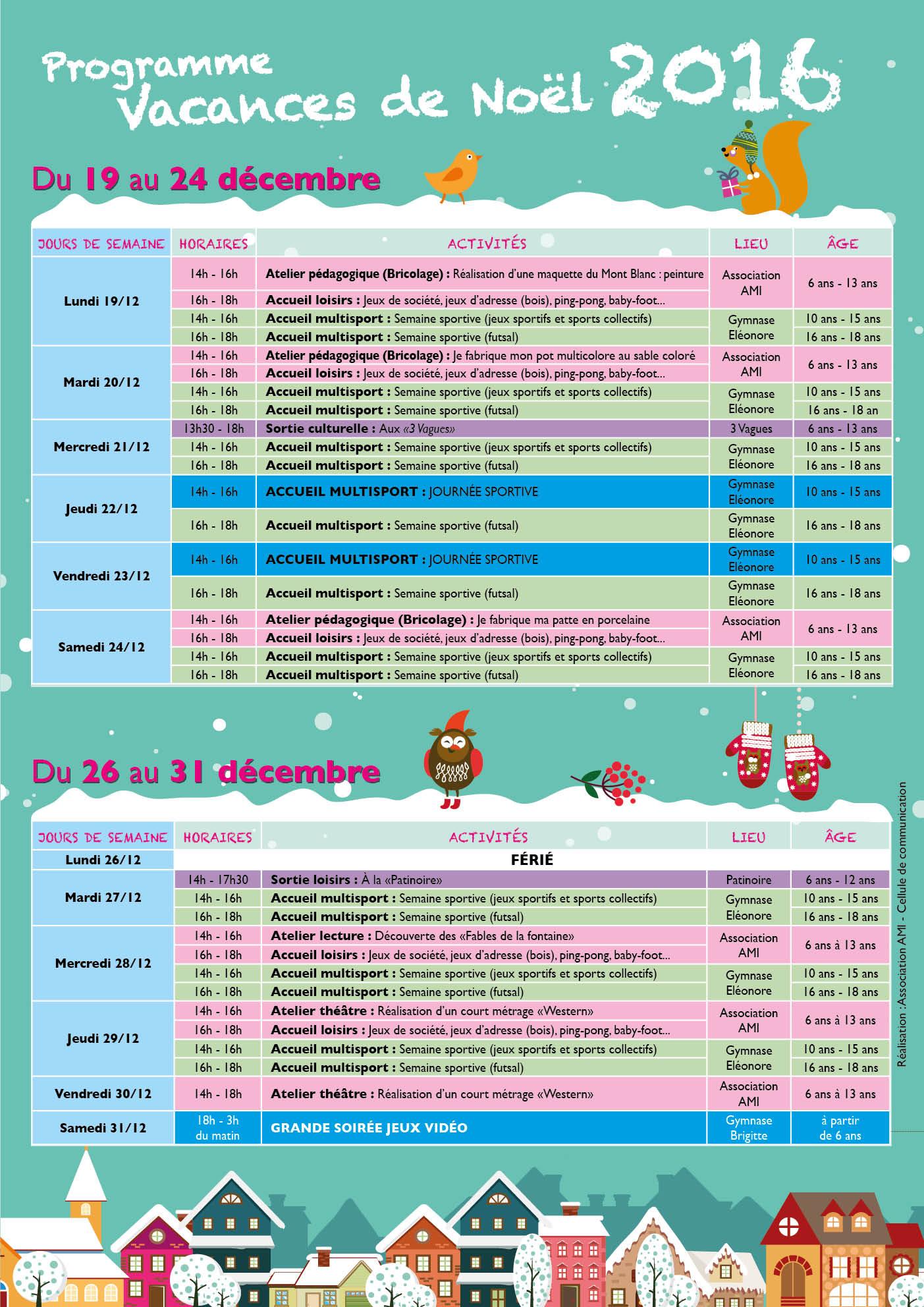 Programme des Vacances de Noël
