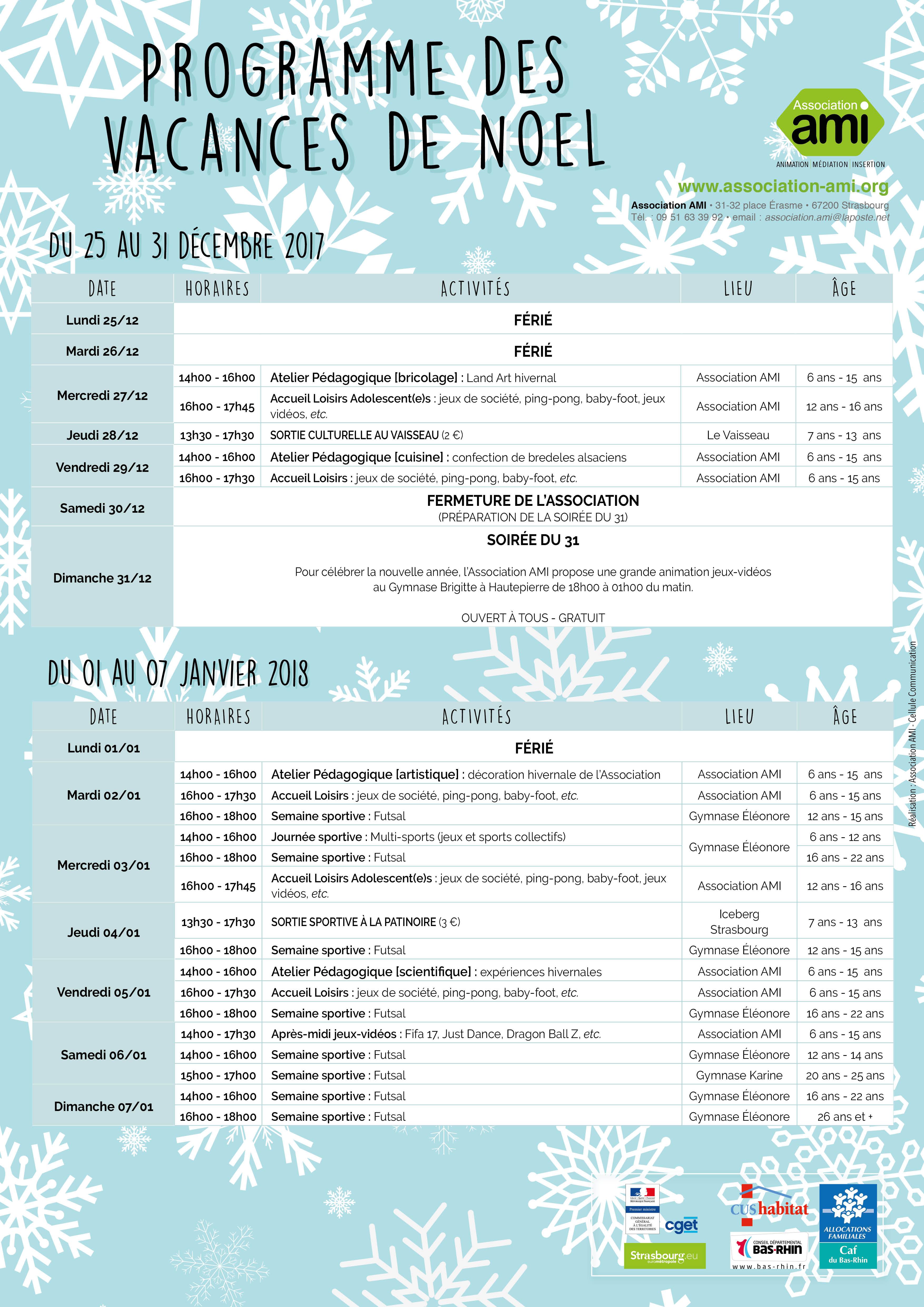 Les vacances de Noël à l'Association AMI