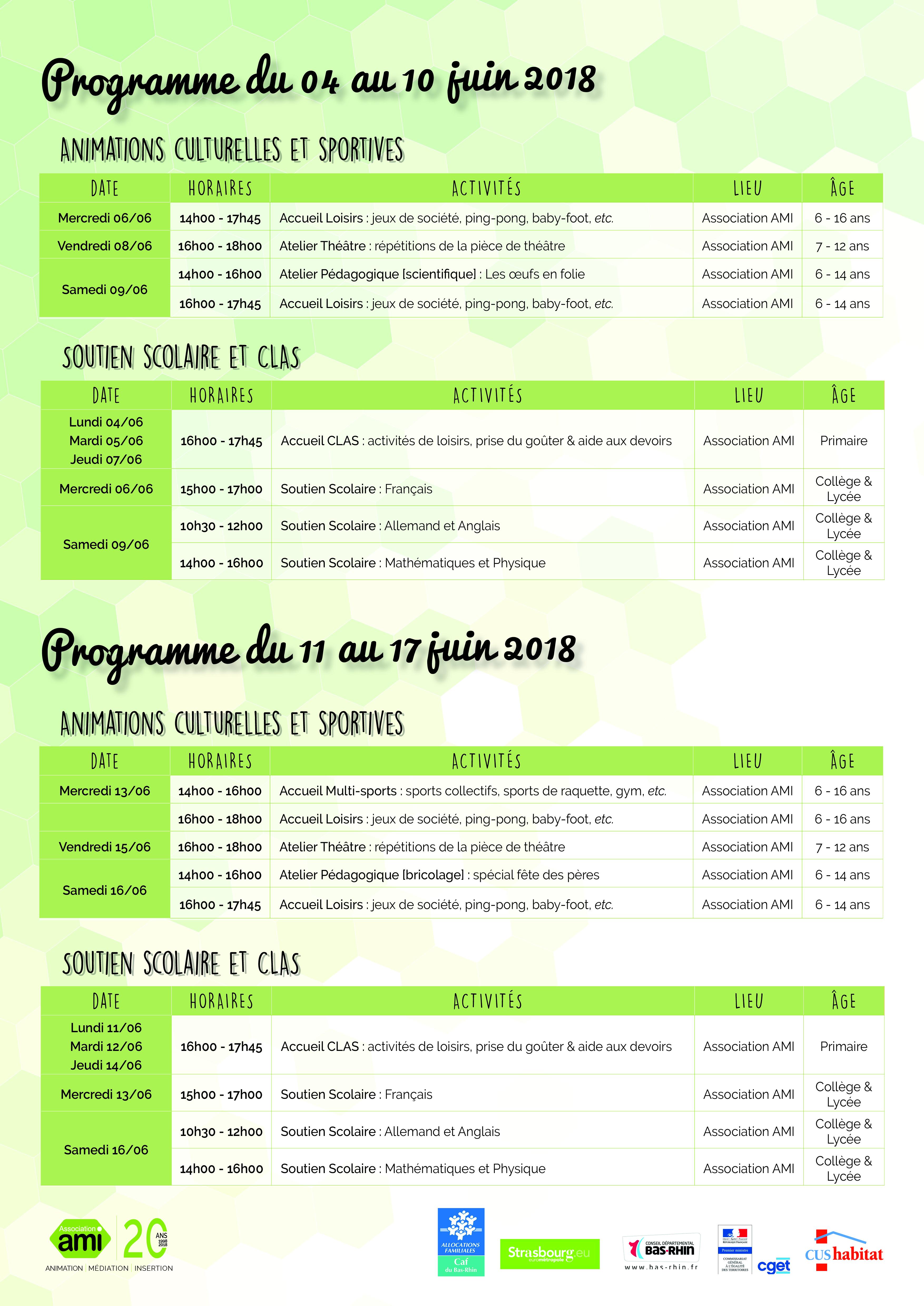 Programme du 04 au 17 juin 2018