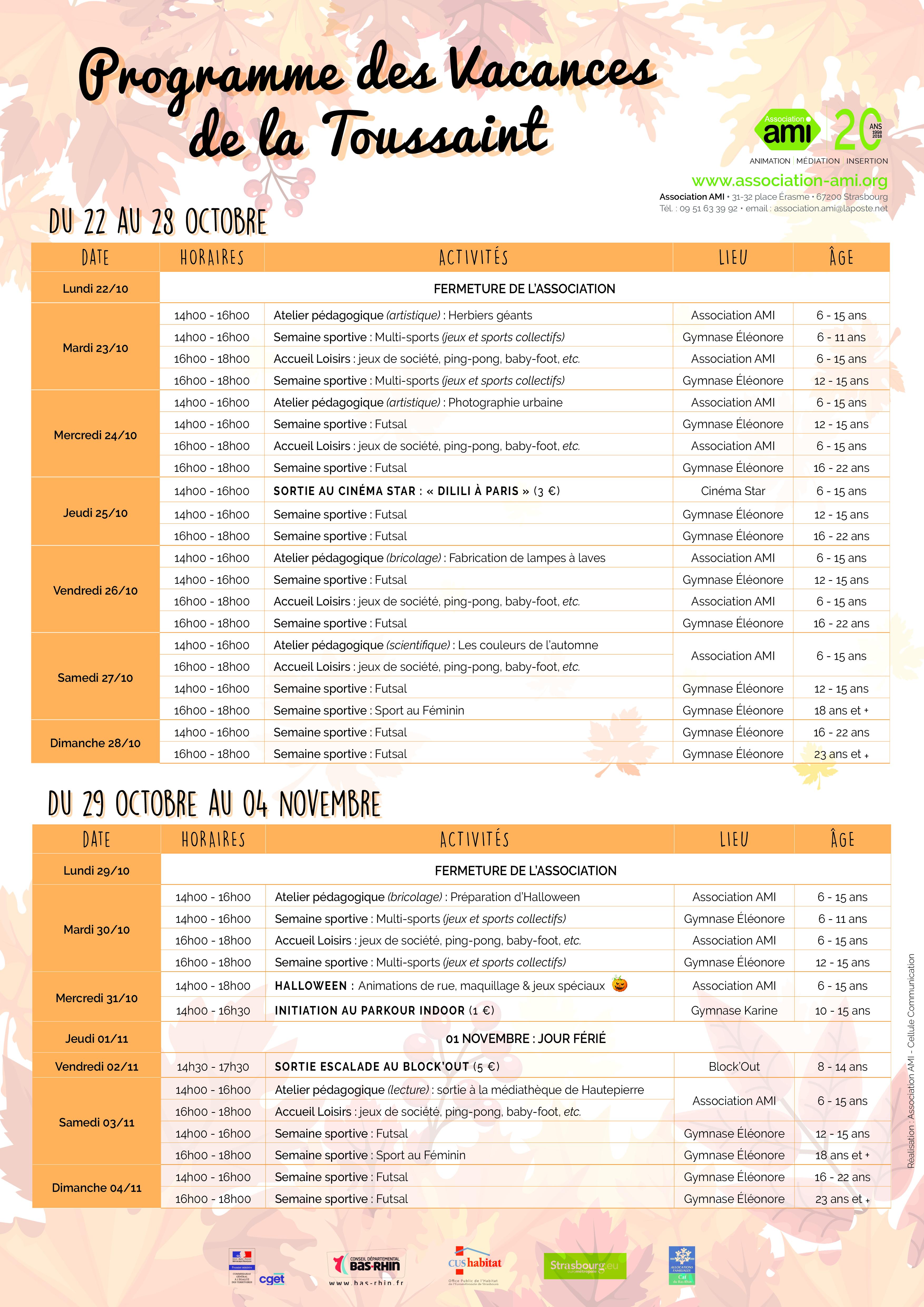Programme des vacances de la Toussaint !