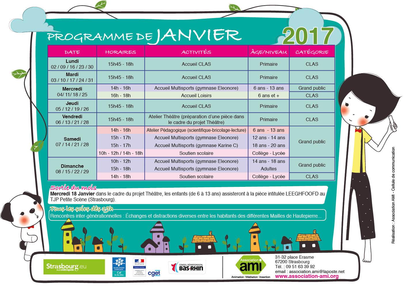 Programme du mois de Janvier 2017